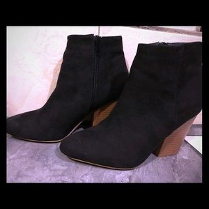 JustFab Booties - Black faux suede- size 6.5